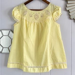 Vintage Yellow Lace Embroidered Blouse S